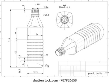 3d illustration of plastic bottle above engineering drawing