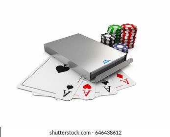3d Illustration of play card box. chips and cards, isolated white
