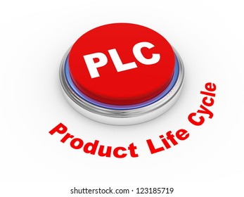 3d illustration of PLC ( Product Life cycle ) button