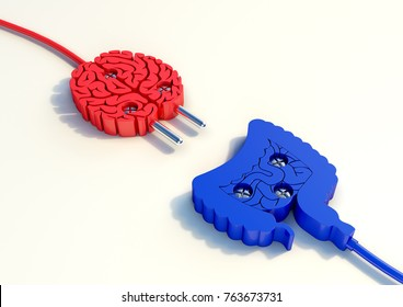 A 3d illustration of a plug with brain and intestine format