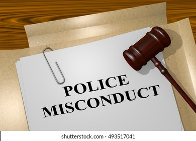 """3D illustration of """"POLICE MISCONDUCT"""" title on legal document"""