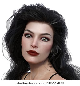 3d illustration portrait of a beautiful brunette woman with gold flecked eyes on a white background.