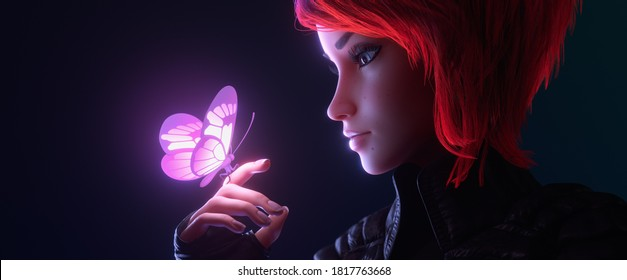 3d illustration of a portrait of girl looking at the glowing pink butterfly landed on her finger in night scene. Young cyberpunk woman with short red hair in black leather jacket, fingerless gloves.