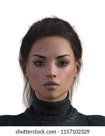 3d illustration portrait of a woman with dark hair and makeup wearing a black turtleneck sweater with a serious expression on a white background.