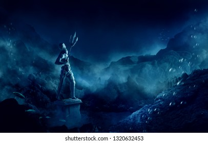 3D illustration of poseidon's statue, based on the legend of the lost city of Atlantis, underwater city, rendering