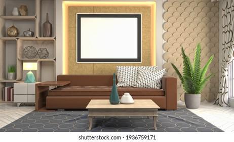 3d Illustration poster frame in interior background