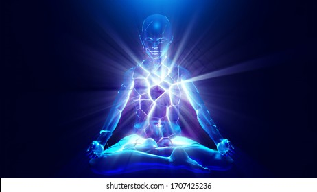 3d illustration. powerful inner love energy of a meditating person it creates misconceptions about yourself