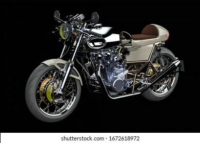 3D illustration. Powerfull motorbike with shiny chrome and leather saddle isolated on black background. Detail of motorbike. Vintage style cafe-racer motorcycle.