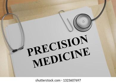 3D illustration of PRECISION MEDICINE title on a medical document