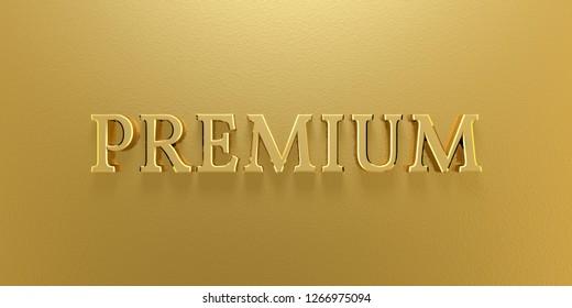 3D Illustration Premium Gold Text