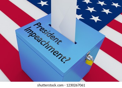 3D illustration President Impeachment? script on a ballot box, with US flag as a background.