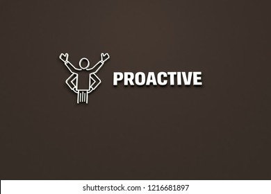 3D illustration of PROACTIVE, grey color and grey text with brown background.