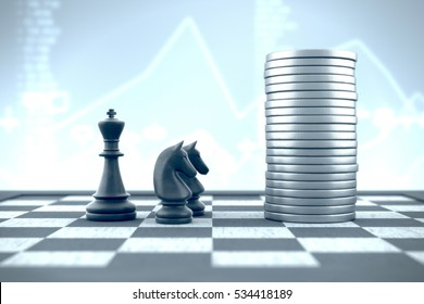 3d illustration: Professional knights advise king in investing money on a business background