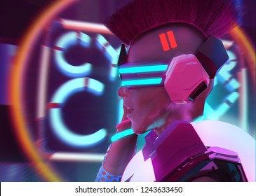 3d illustration profile portrait artwork of a sci-fi cyber punk girl with neon glasses, collar and armor torso on neon city background.