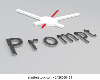 3D illustration of Prompt title with a clock as a background