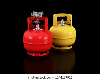 3d Illustration of Propane gas cylinders on a black background