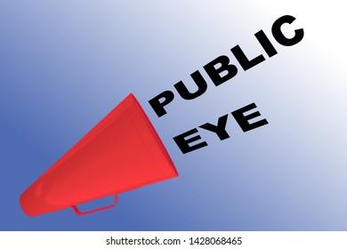 3D illustration of PUBLIC EYE title flowing from a loudspeaker