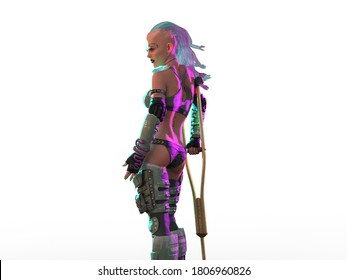 3D Illustration of Punk Girl With a Crutch Isolated on White