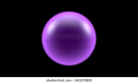 3D illustration of a purple object, a gas cloud of high-temperature plasma. Abstract image of futuristic black background. 3D rendering isolated. Ball lightning.