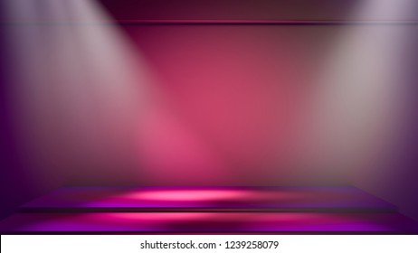 3D illustration purple and pink scenario with white volumetric lights