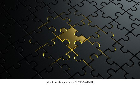 3d illustration of puzzle dark black pieces background texture with a golden metallic one in the center concept for leadership