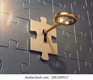 3D Illustration puzzle with a key