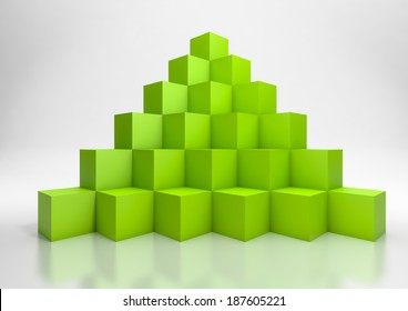3d illustration of a  pyramid of green cubes