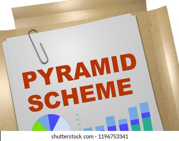 3D illustration of PYRAMID SCHEME title on business document