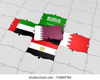 3D Illustration of the Qatar Issue in Gulf Cooperation Council