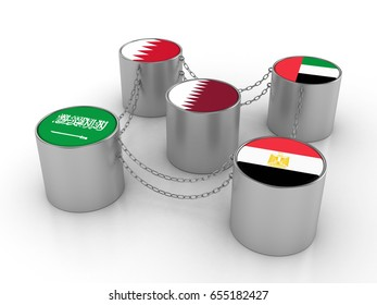 3D illustration of the Qatar situation in the Gulf Cooperation Council