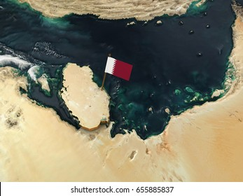 3D Illustration of Qatar's Physical Map with Flag marking the Capital Doha.