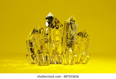 3D illustration of Quartz crystals growing on yellow backgrownd