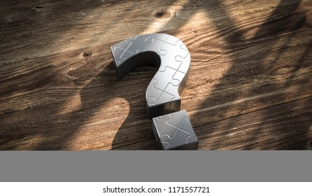 3D illustration question mark of metal