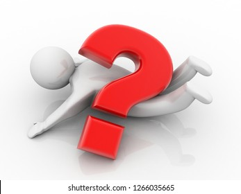 3d illustration Question Mark. 3D. 3d small people - complicated questionmark