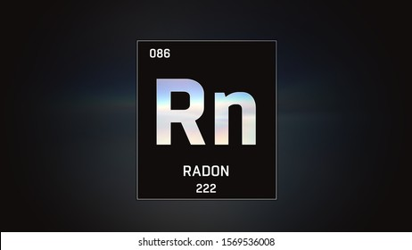 3D illustration of Radon as Element 86 of the Periodic Table. Grey illuminated atom design background with orbiting electrons. Design shows name, atomic weight and element number