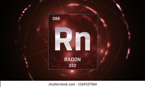 3D illustration of Radon as Element 86 of the Periodic Table. Red illuminated atom design background with orbiting electrons. Design shows name, atomic weight and element number