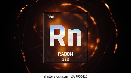 3D illustration of Radon as Element 86 of the Periodic Table. Orange illuminated atom design background with orbiting electrons. Design shows name, atomic weight and element number
