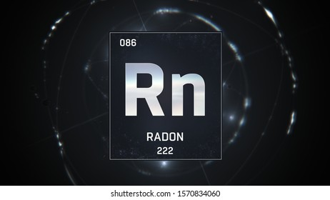 3D illustration of Radon as Element 86 of the Periodic Table. Silver illuminated atom design background with orbiting electrons. Design shows name, atomic weight and element number