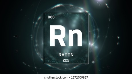 3D illustration of Radon as Element 86 of the Periodic Table. Green illuminated atom design background with orbiting electrons. Design shows name, atomic weight and element number