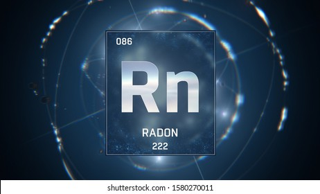 3D illustration of Radon as Element 86 of the Periodic Table. Blue illuminated atom design background with orbiting electrons. Design shows name, atomic weight and element number