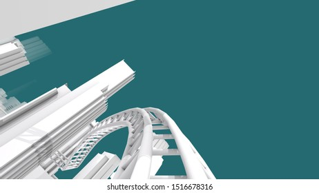 3d illustration, a railway on city with building on blue background