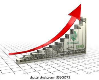 3d illustration of raising charts with dollar texture and upward arrow