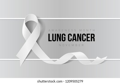 3D Illustration. Raster version. Banner with Lung Cancer Awareness Realistic White Ribbon. Design Template for Websites Magazines