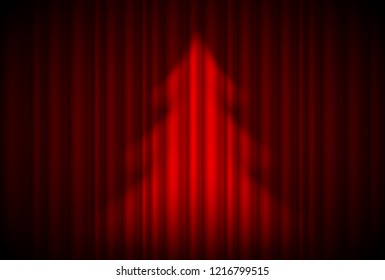 3D Illustration. Raster version. Christmas tree in spotlight on red curtain. Theatre style.