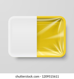 3D Illustration. Raster version. Empty Yellow Plastic Food Container with White label on Gray Background