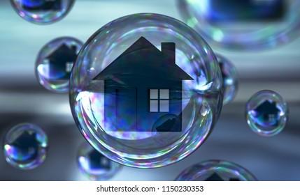 3d illustration Real estate bubble