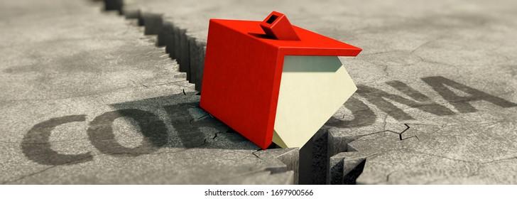 3D illustration, Real estate loss due to corona crisis