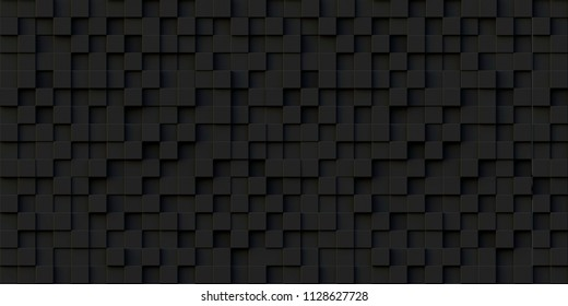 3d illustration. Realistic black solid cubes with a shadow of the same size, located in space at different levels. Abstract background of 3d cubes. Background of dark cubes. 3d rendering.3 d panel.