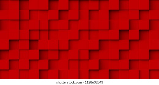 3d illustration. Realistic reds are volume cubes with a shadow of the same size, located in space at different levels. Abstract background of 3d cubes. Background of red cubes. 3d rendering.3 d panel
