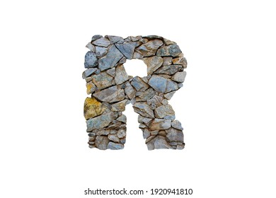 3D illustration realistic stone rock letter R, rustic hard material alphabet, isolated design element, capital font